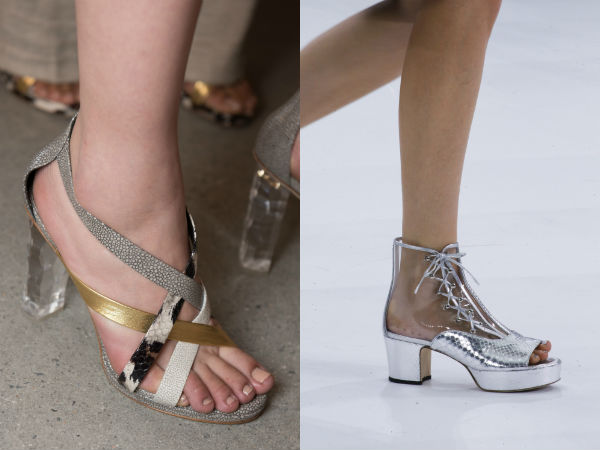 Trendy high heeled sandals with transparent elements