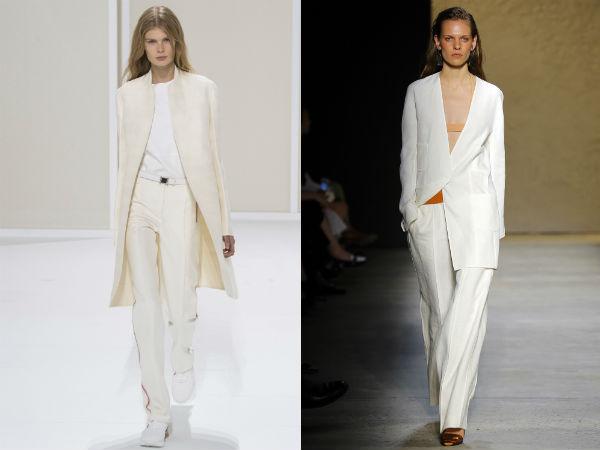 long blazer in white color