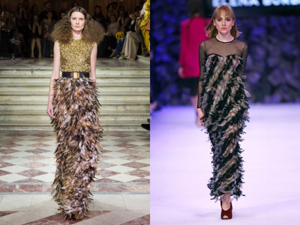 Feathered dresses for New Years' Eve celebration party