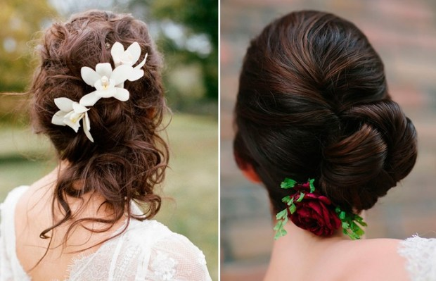 wedding hairstyle 2018 with flowers