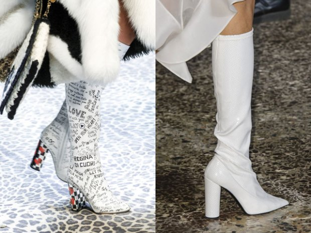 White high heeled boots
