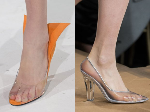 Transparent heeled footwear