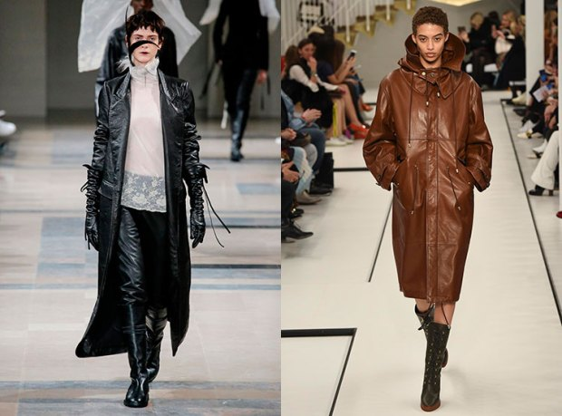 Trench coats fall 2018 winter 2019: leather