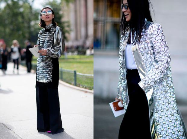 street style outfits metallic shades
