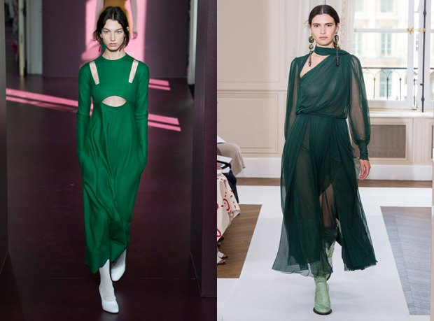 Green emerald dresses winter 2019