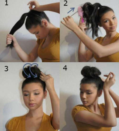 step by step hair bun for medium length hair