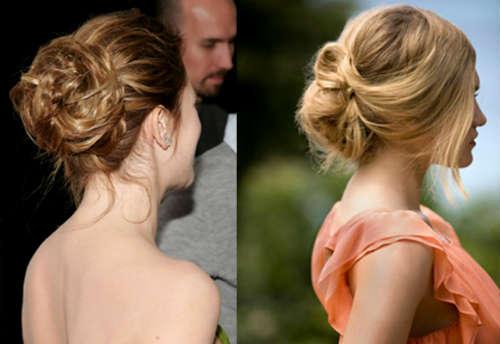 Medium length hair bun