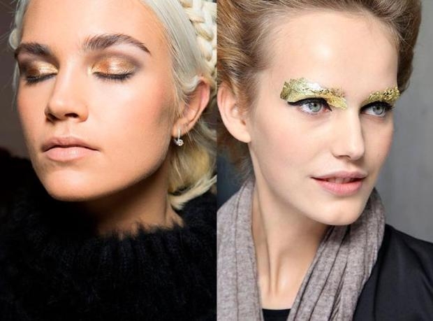 Makeup with golden shades