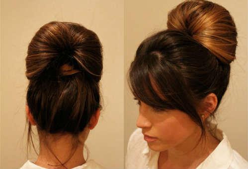 simple voluminous bun for long hair