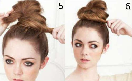 Step by step voluminous bun for log hair