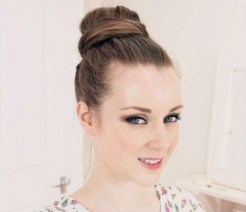 Long hair bun without bangs