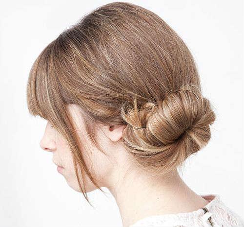 Simple side bun for long hair