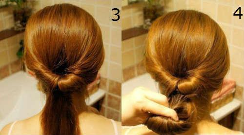 Low evening bun for long hair