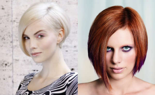 Asymmetric bob haircut for medium length hair