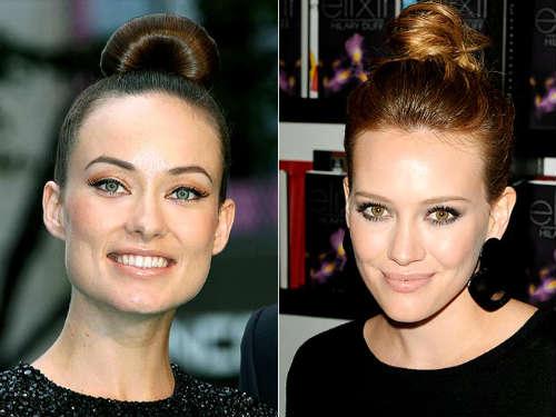 Celebrities with long hair bun