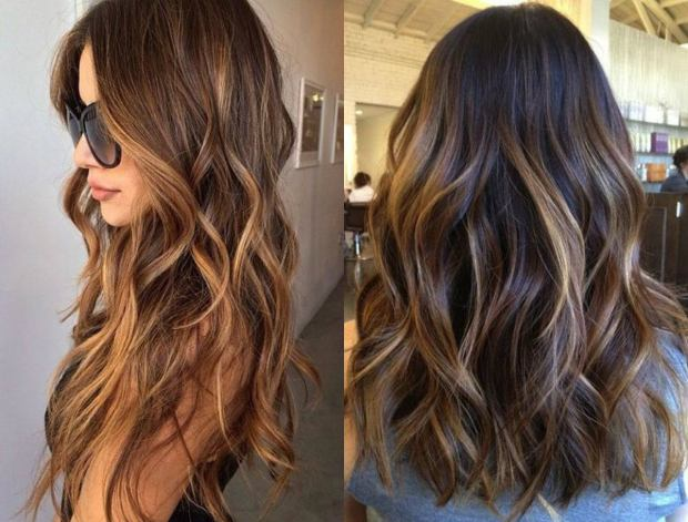 Balayage for long brunette hair