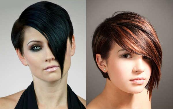 Long asymmetric bangs for short hair