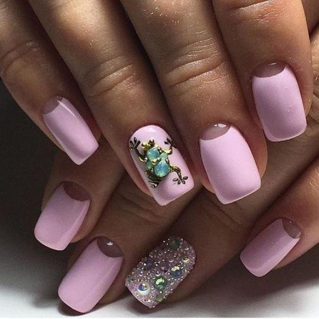 Pink half-moon nails