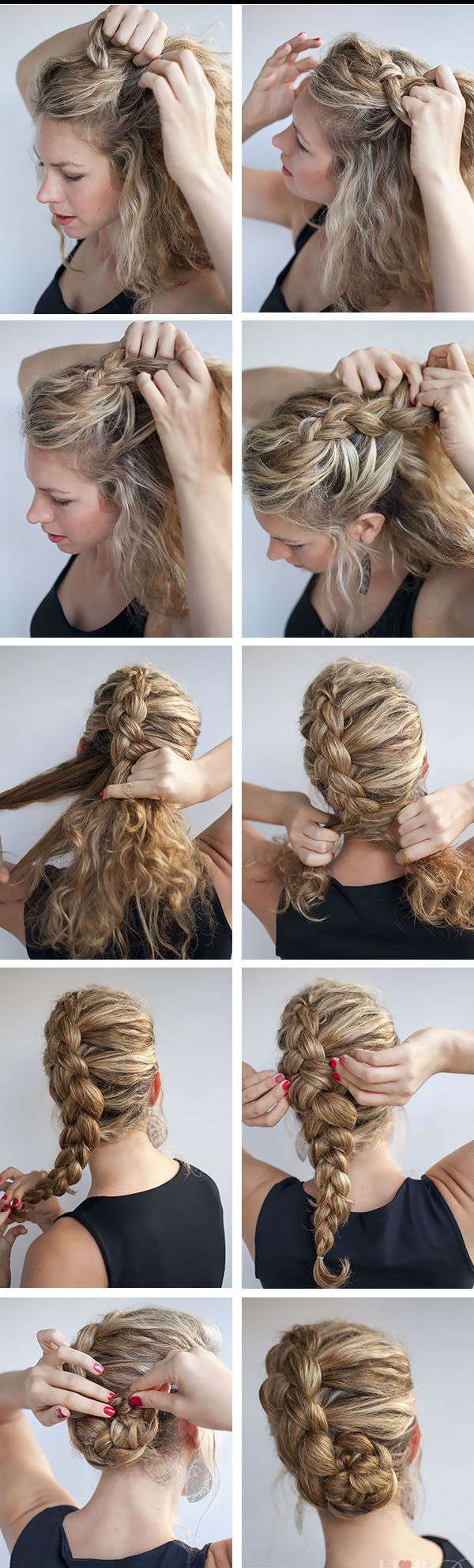 Step-by-step braid hairstyle for long hair