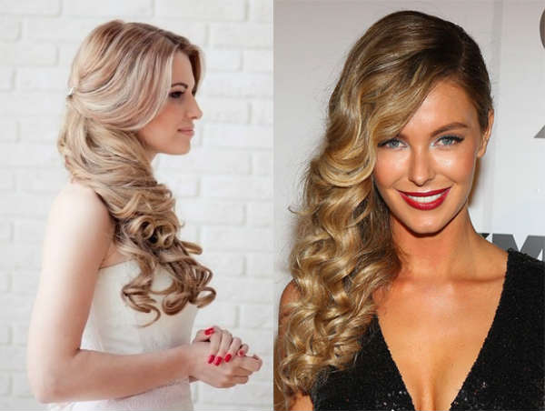 Side curly hair hairstyle