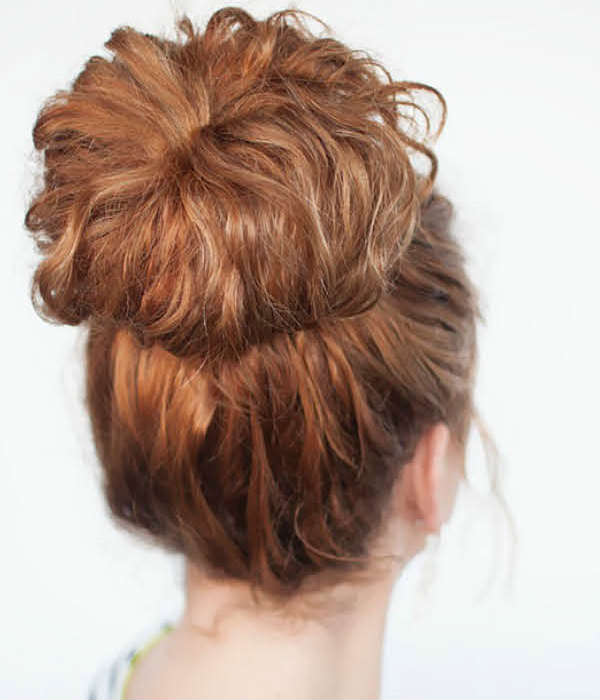 High bun for curly hair