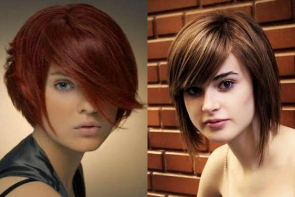 Hairstyles with asymmetric fringe for medium length hair