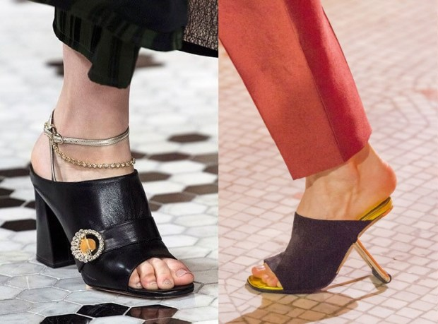 Footwear mules with unusual heels