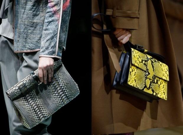 Stylish handbags with reptile print