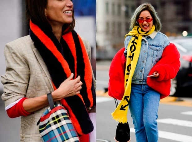 """Women street style fashion trends with scarf"""" width="""