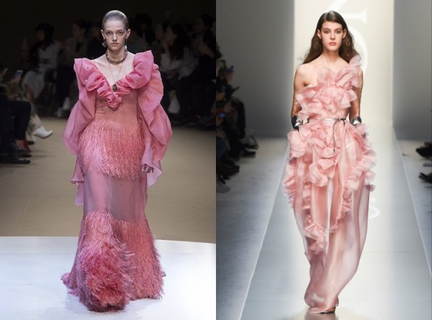 Pink evening dresses with frills