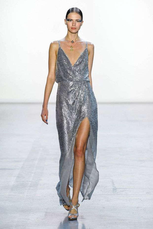 Elegant evening silver dress 2020