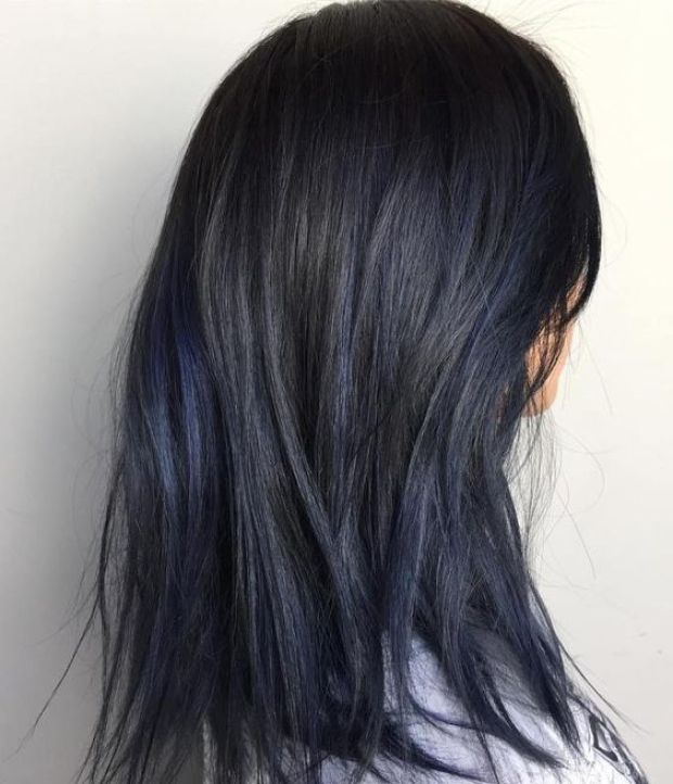 Black blue hair dying
