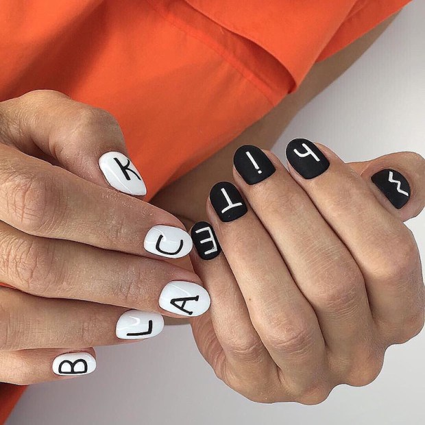 Nails 2020 black and white nails with lettering