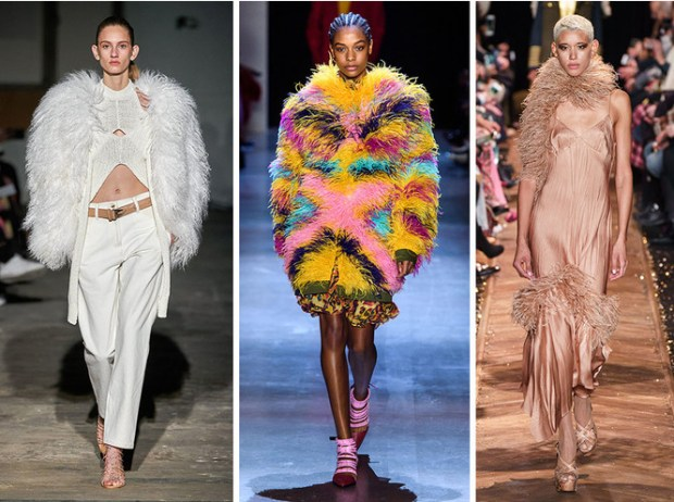 New York fashion week fall 2020 winter 2021 feathers