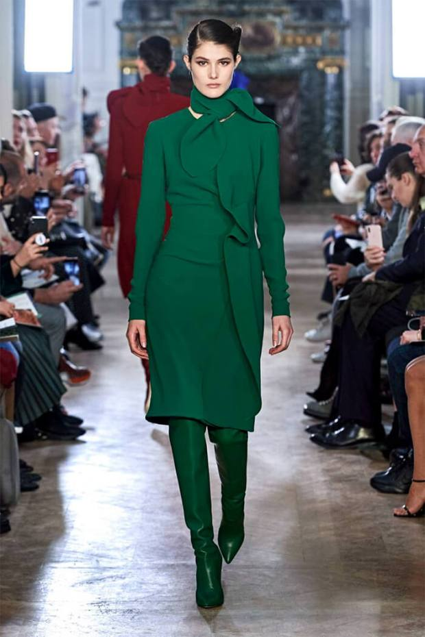 Green fall dress 2020