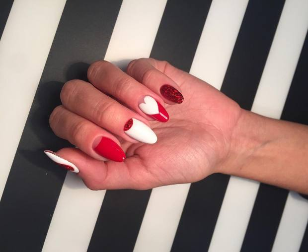 Red-white almond nails