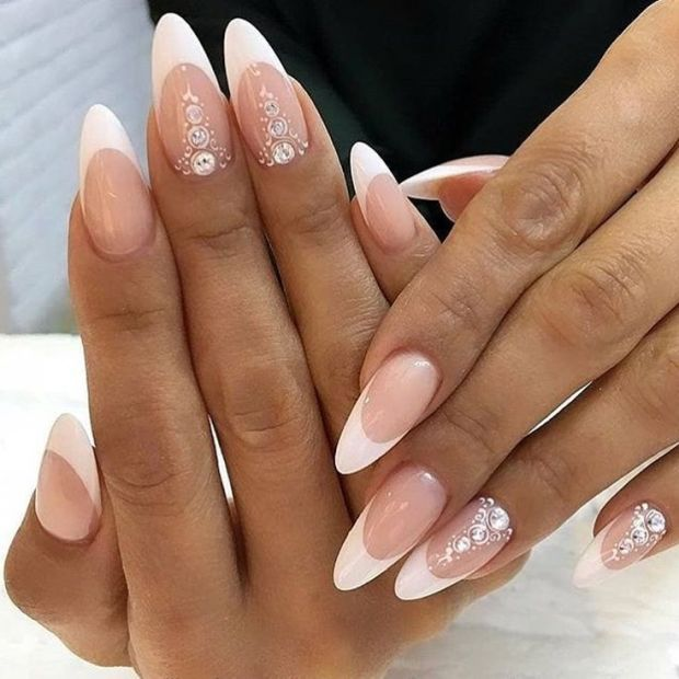Long almond nails with french