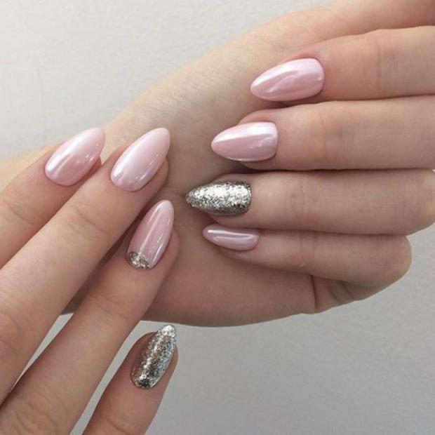 Pink pale almond nails designs