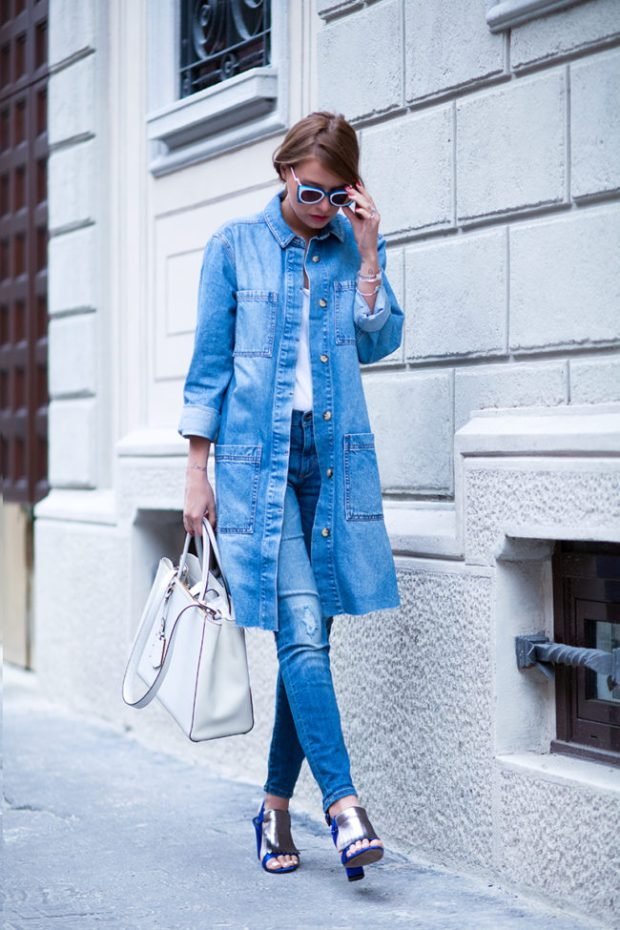 Denim trenches outfits