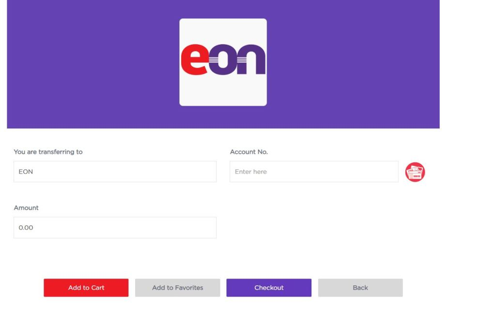 Input Details of another EON Digital Me Card