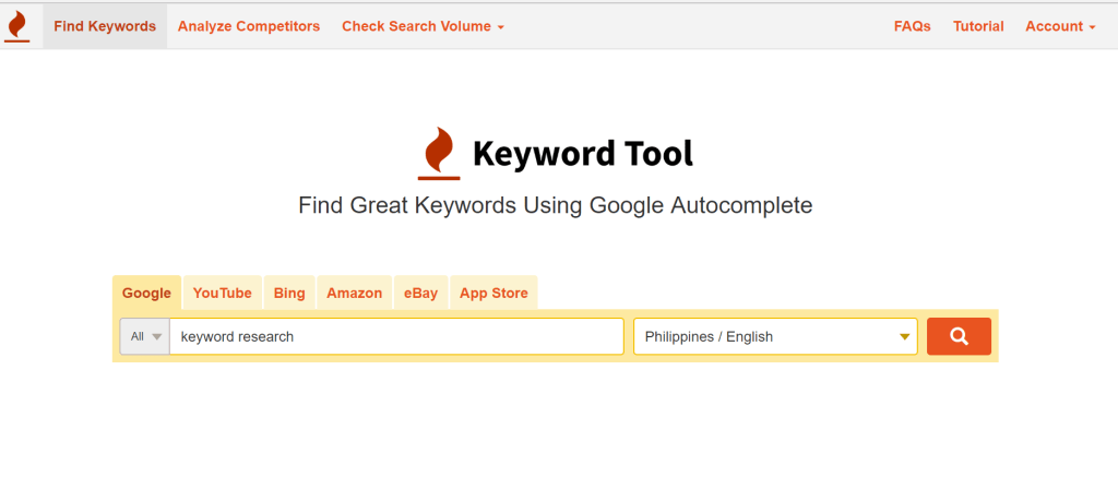 Keyword tool for keyword Research