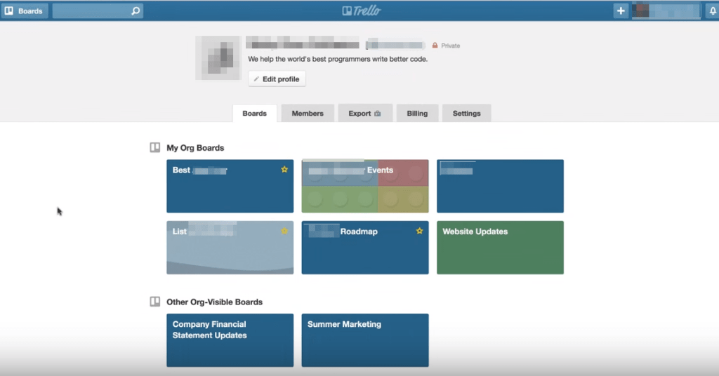 Trello Organizational boards
