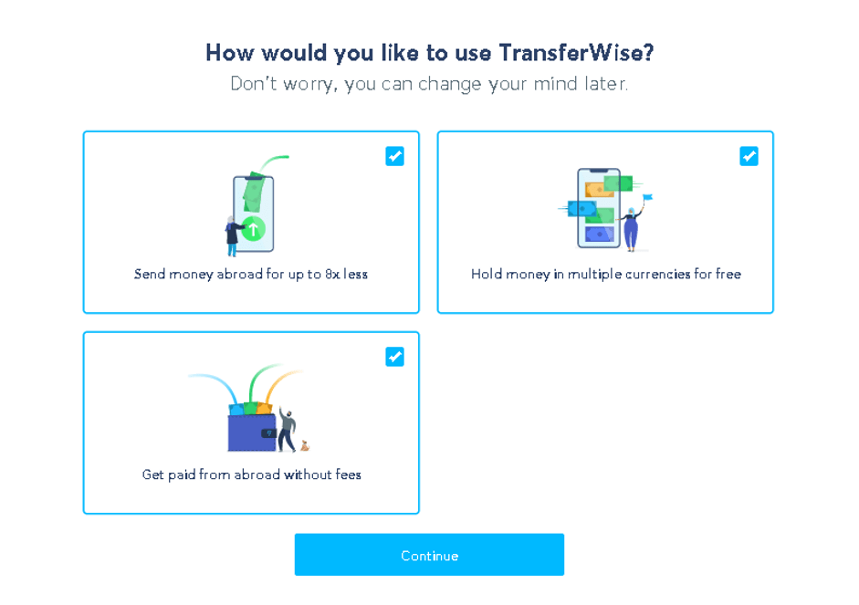 How would you like to use Transferwise