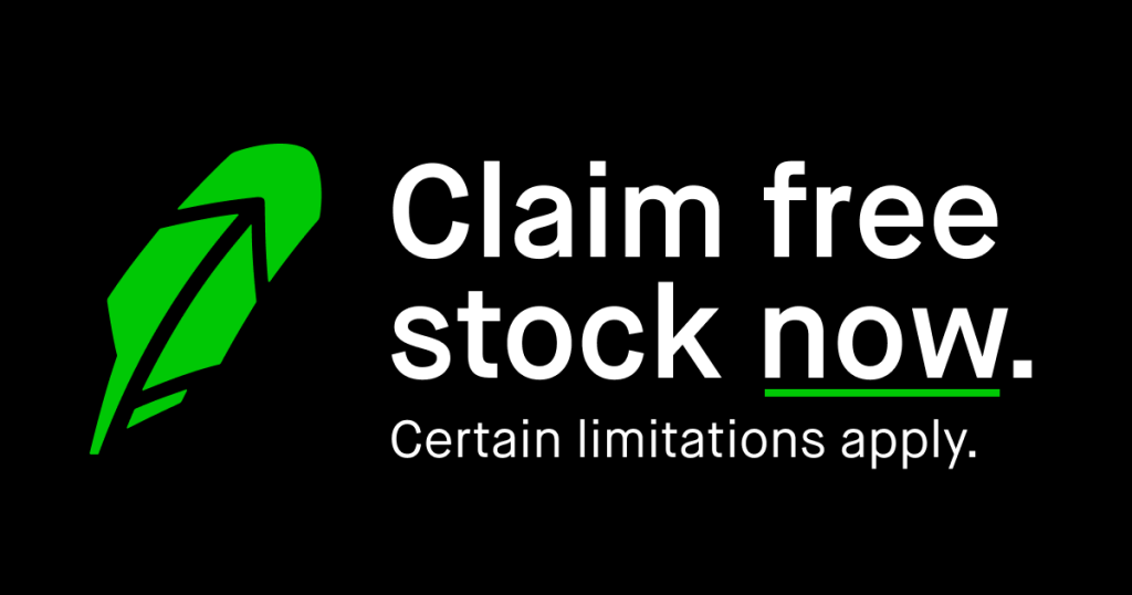 images showing claim free stock with the robinhood logo