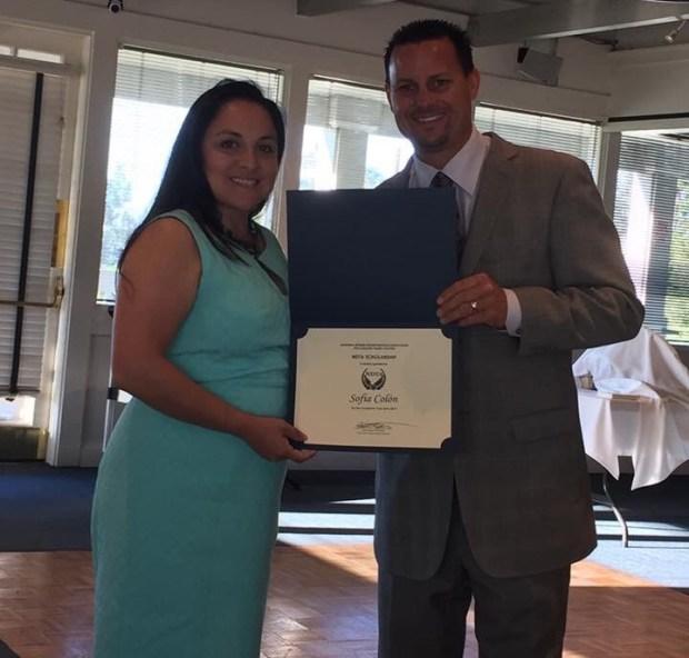 Woman accepting an award