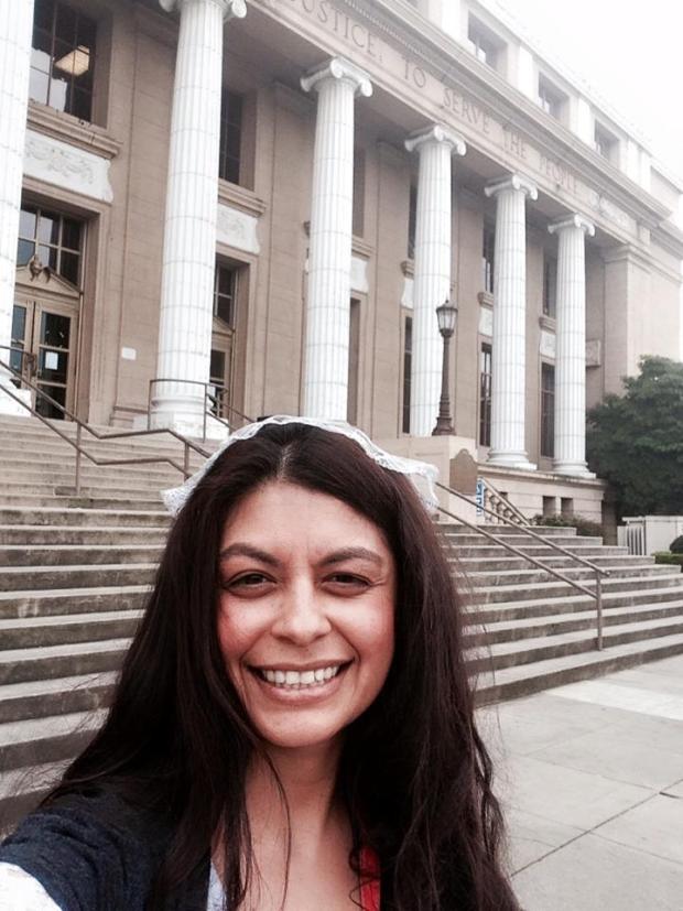 school board trustee in front of City Hall
