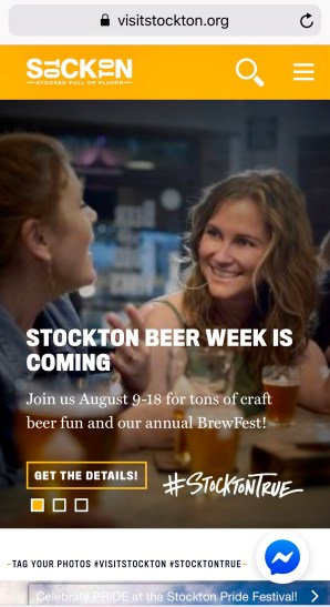 Screen shot of the Visit Stockton website homepage