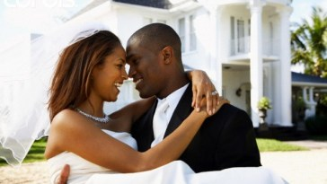 newly wedded black couple