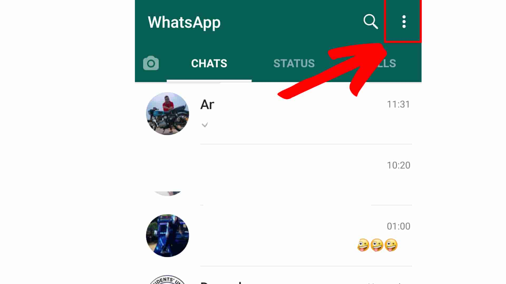 How to hide status in whatsapp Step 2