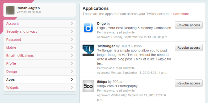 Manage Applications in Twitter